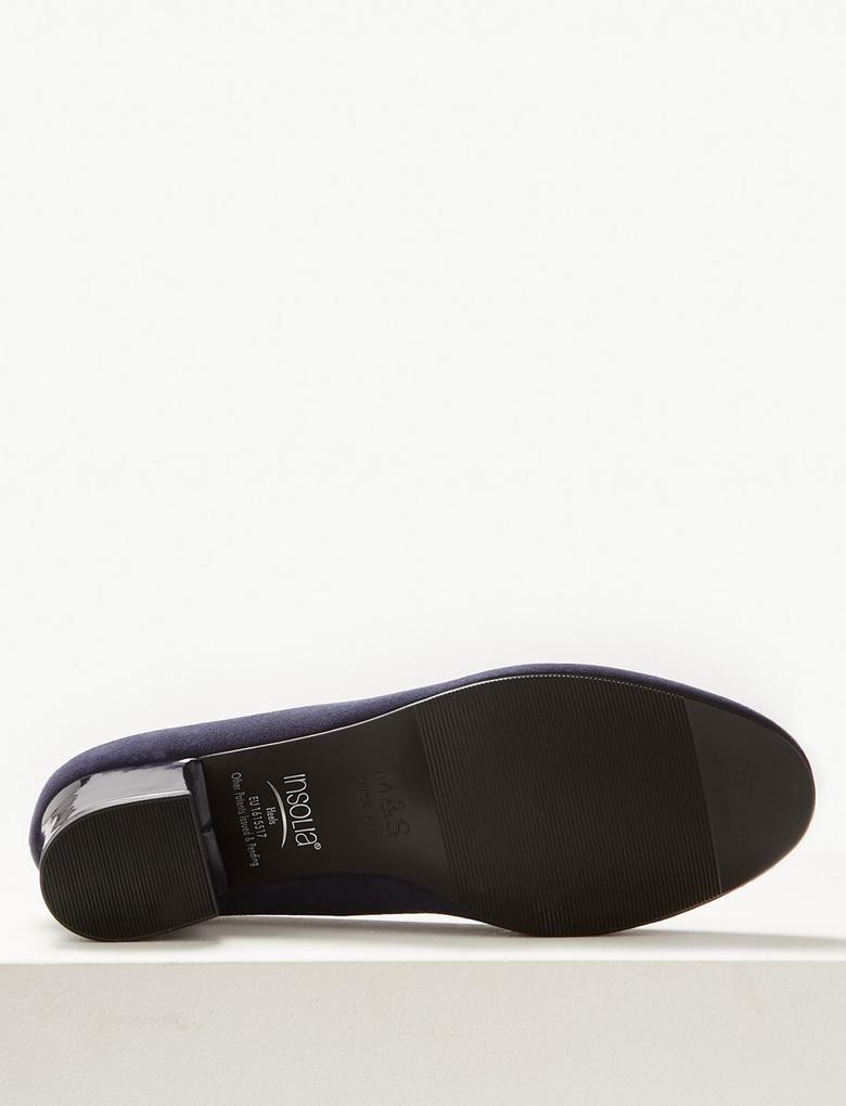Lacivert Geniş Kalıplı Kalın Topuklu Ayakkabı