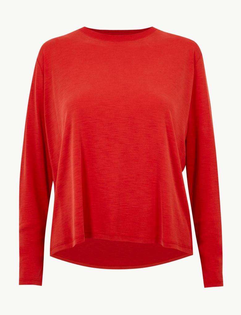 Kadın Kırmızı Yumuşak Dokulu Yuvarlak Yaka Uzun Kollu T-Shirt
