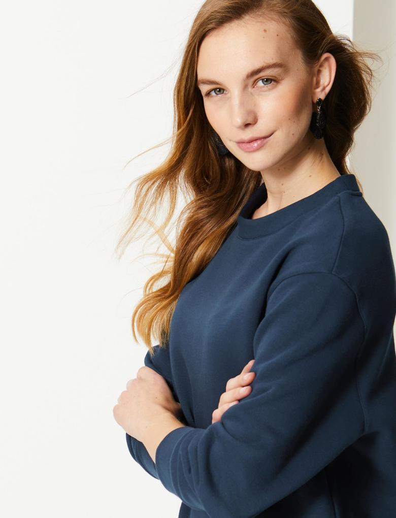 Lacivert Pamuklu Uzun Kollu Sweatshirt