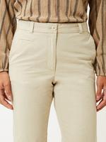 Kadın Bej Saf Pamuklu Tapered Leg Chino Pantolon