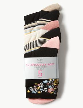 5 Çift Paket Yumuşak Dokulu Çorap