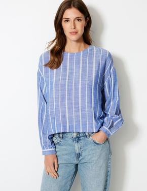 Mavi Çizgili Yuvarlak Yaka Uzun Kollu Bluz