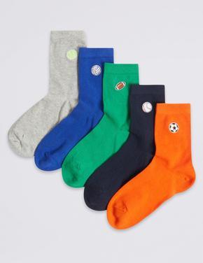 5 Çift işlemeli Desenli Çorap