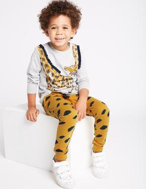 2 Parça Zürafa Desenli T-Shirt ve Eşofman Altı Takımı