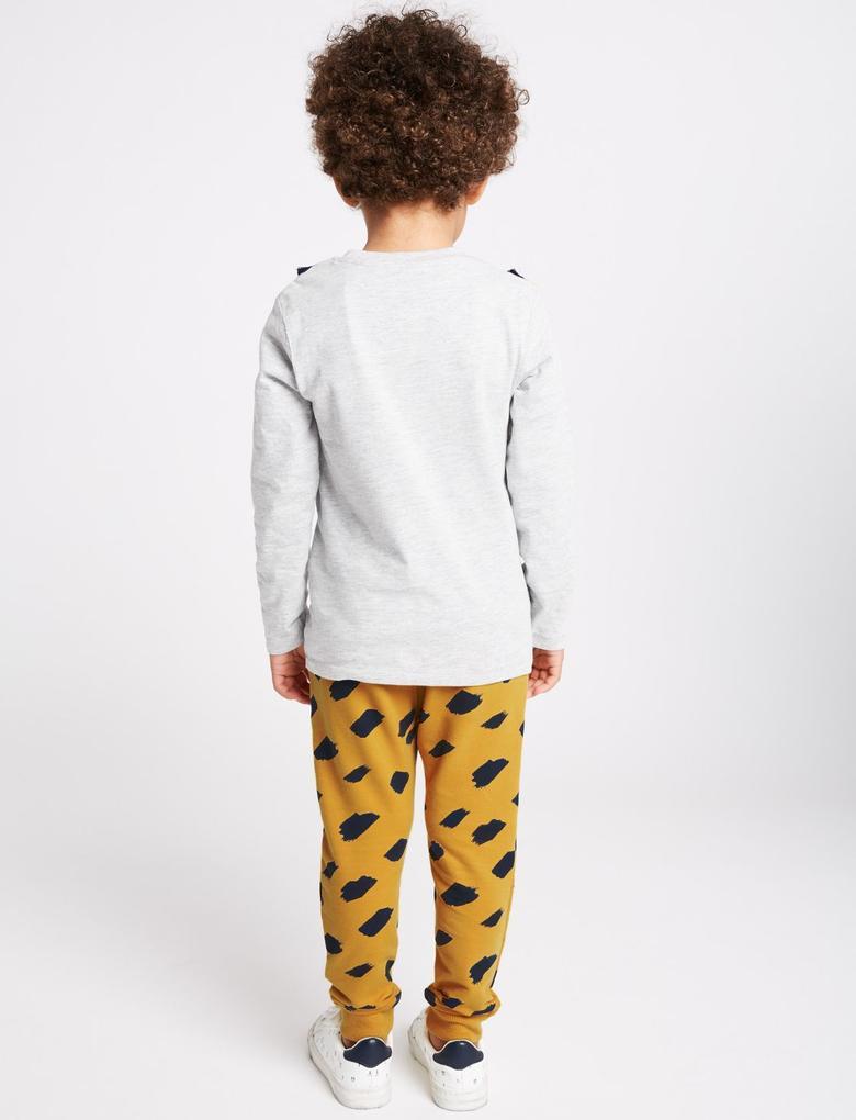 Gri 2 Parça Zürafa Desenli T-Shirt ve Eşofman Altı Takımı