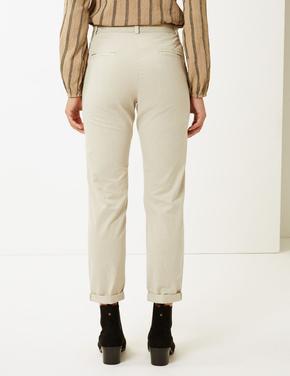 Saf Pamuklu Tapered Leg Chino Pantolon