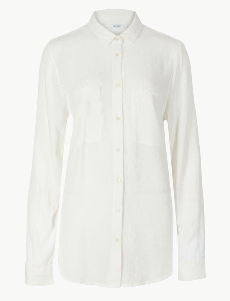 Kadın Beyaz Uzun Kollu Gömlek
