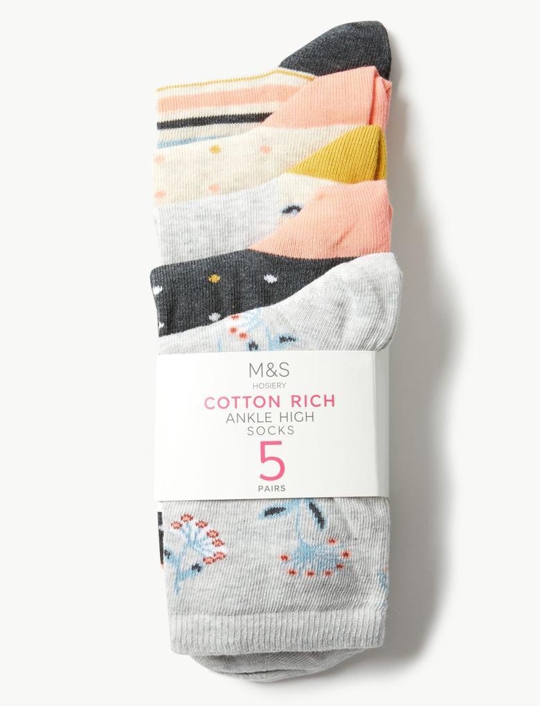 5 Çift Paket Pamuklu Çorap