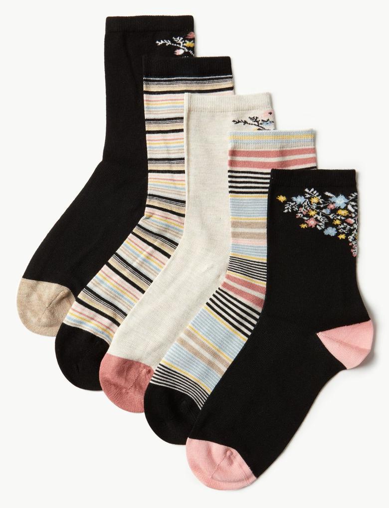 Siyah 5 Çift Paket Yumuşak Dokulu Çorap