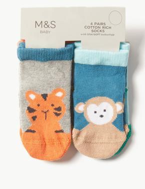 Multi Renk 4 Çift Desenli Pamuklu Çorap