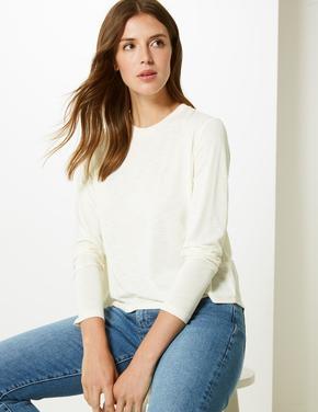 Yumuşak Dokulu Yuvarlak Yaka Uzun Kollu T-Shirt