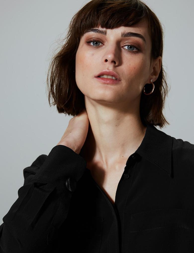 Kadın Siyah Uzun Kollu Gömlek