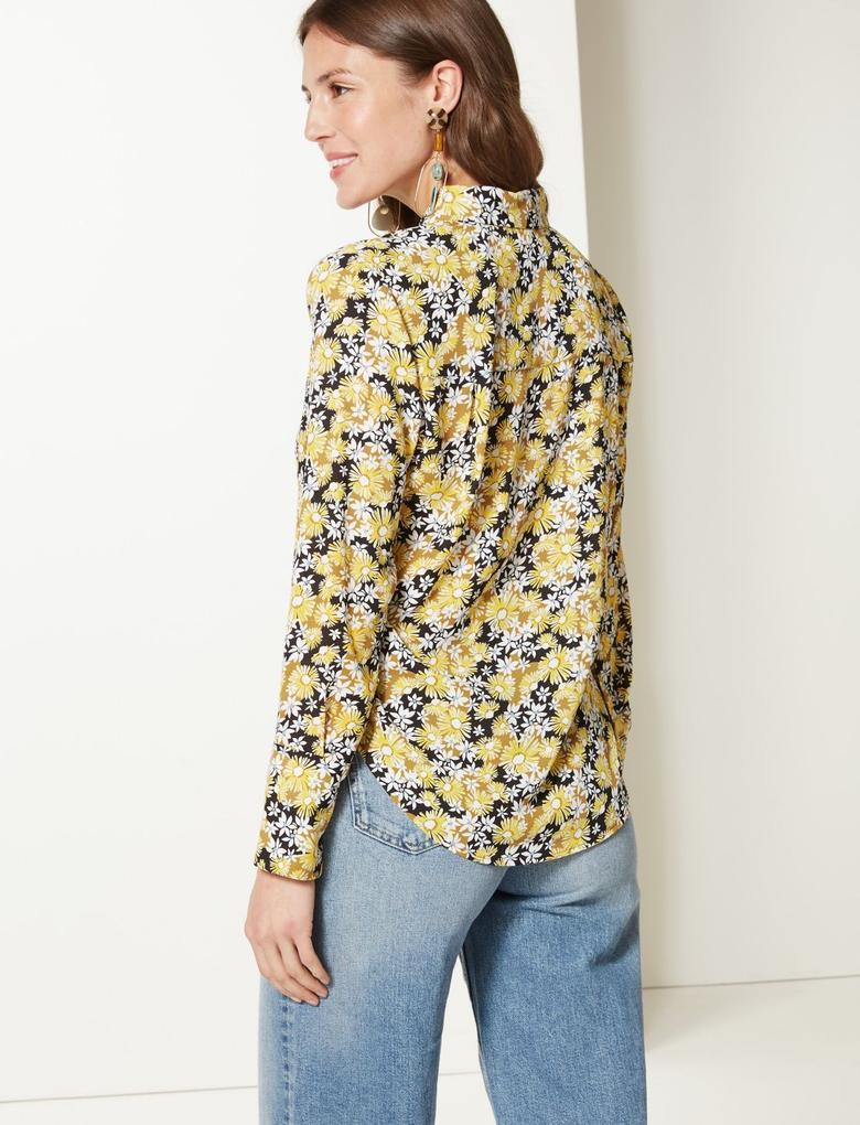 Sarı Çiçek Desenli Uzun Kollu Gömlek