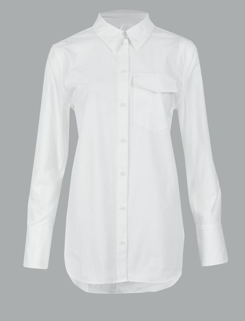 Beyaz Saf Pamuklu Uzun Kollu Gömlek