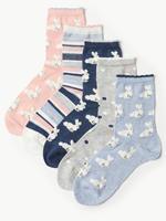 5 Çift Tavşan Desenli Çorap