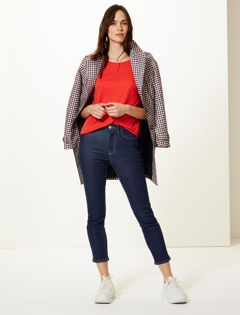 Kadın Lacivert Yüksek Belli Cigarette Jean Pantolon