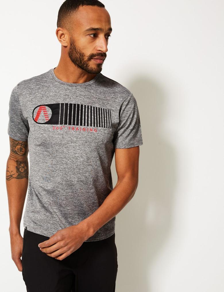 Gri Active Sıfır Yaka Baskılı T-Shirt