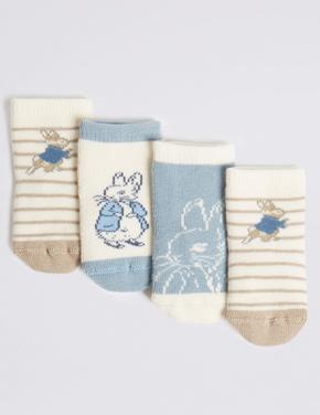 4 Çift Peter Rabbit Desenli Çorap Seti