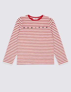 Saf Pamuklu Çizgili Bonjour T-Shirt