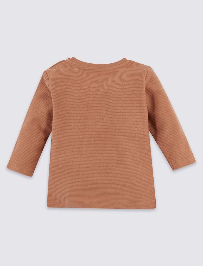 Saf Pamuklu Kedi Desenli T-Shirt