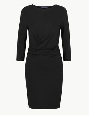 3/4 Kollu Bodycon Mini Elbise