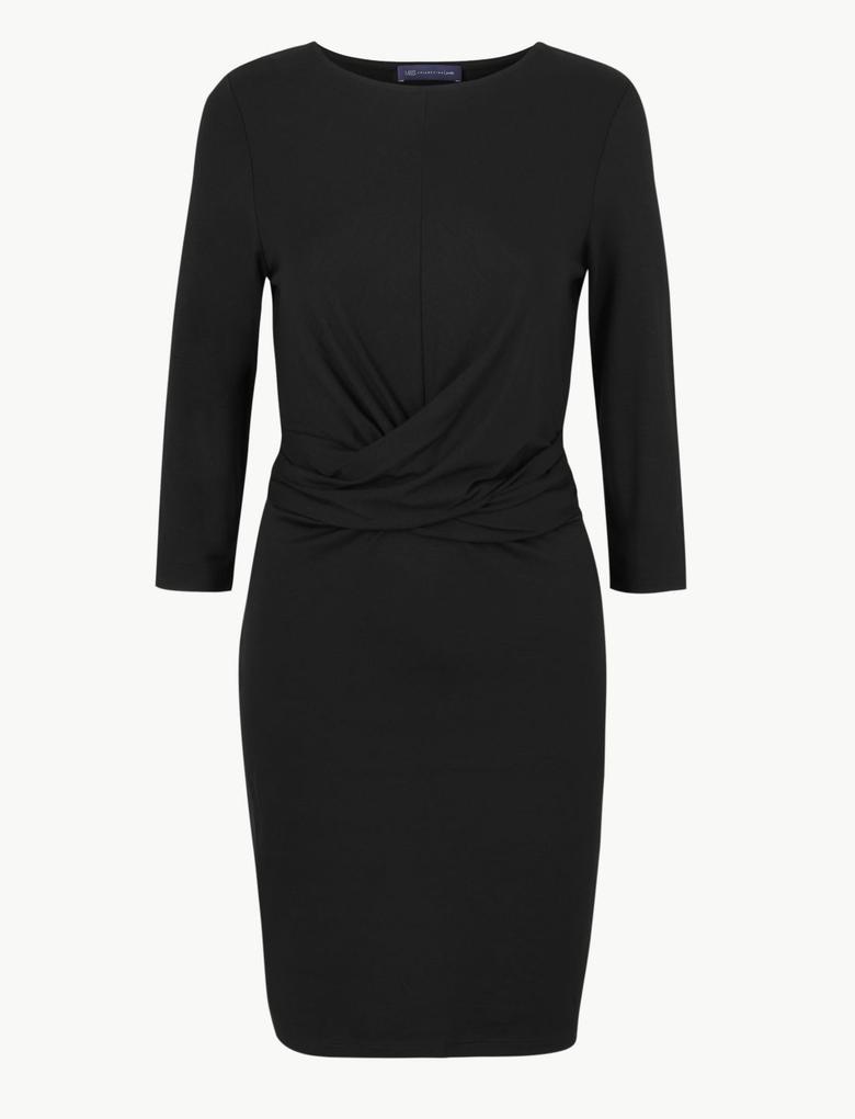 Siyah 3/4 Kollu Bodycon Mini Elbise