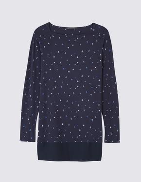 Uzun Kollu Baskılı Tunik Bluz