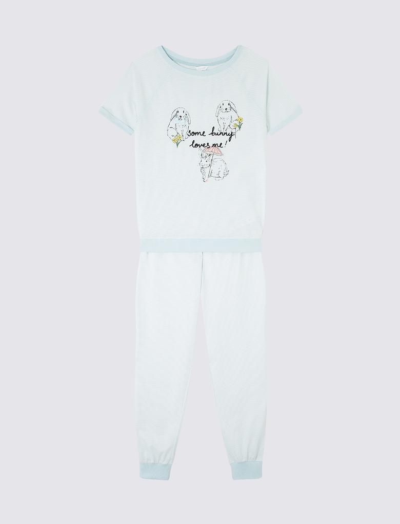 Mavi Tavşan Desenli Pijama Takımı