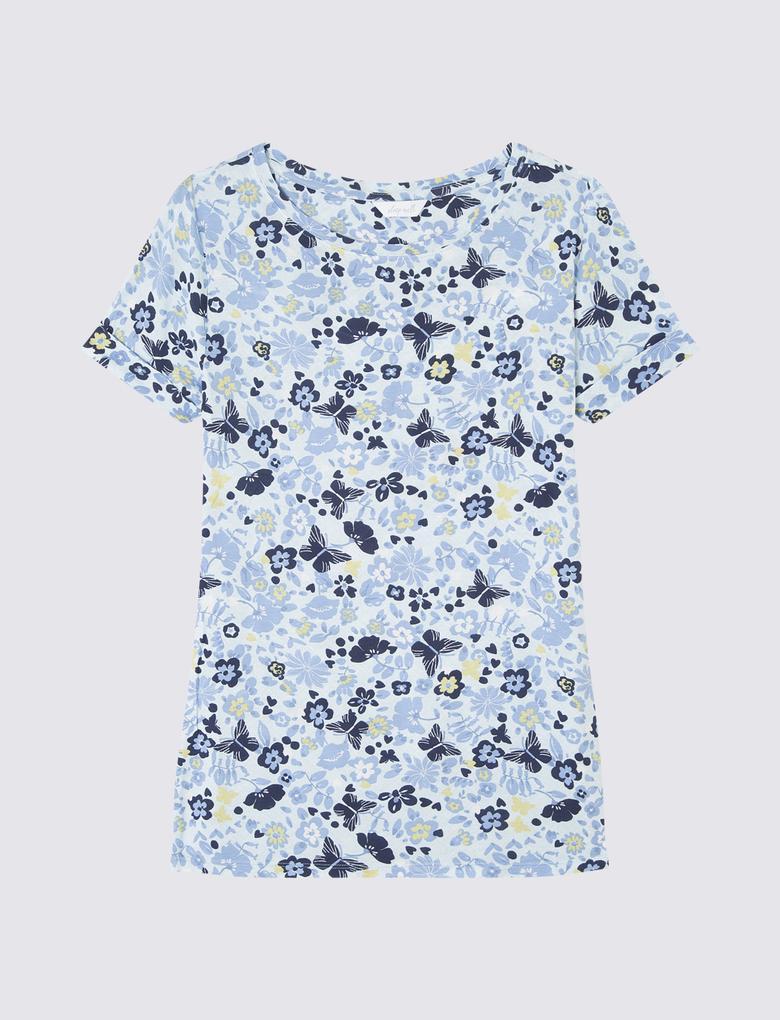 Çiçekli Kısa Kollu Pijama Üstü