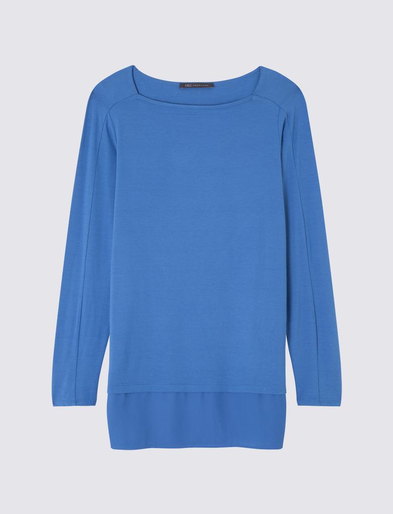Kadın Lacivert Uzun Kollu Tunik Bluz