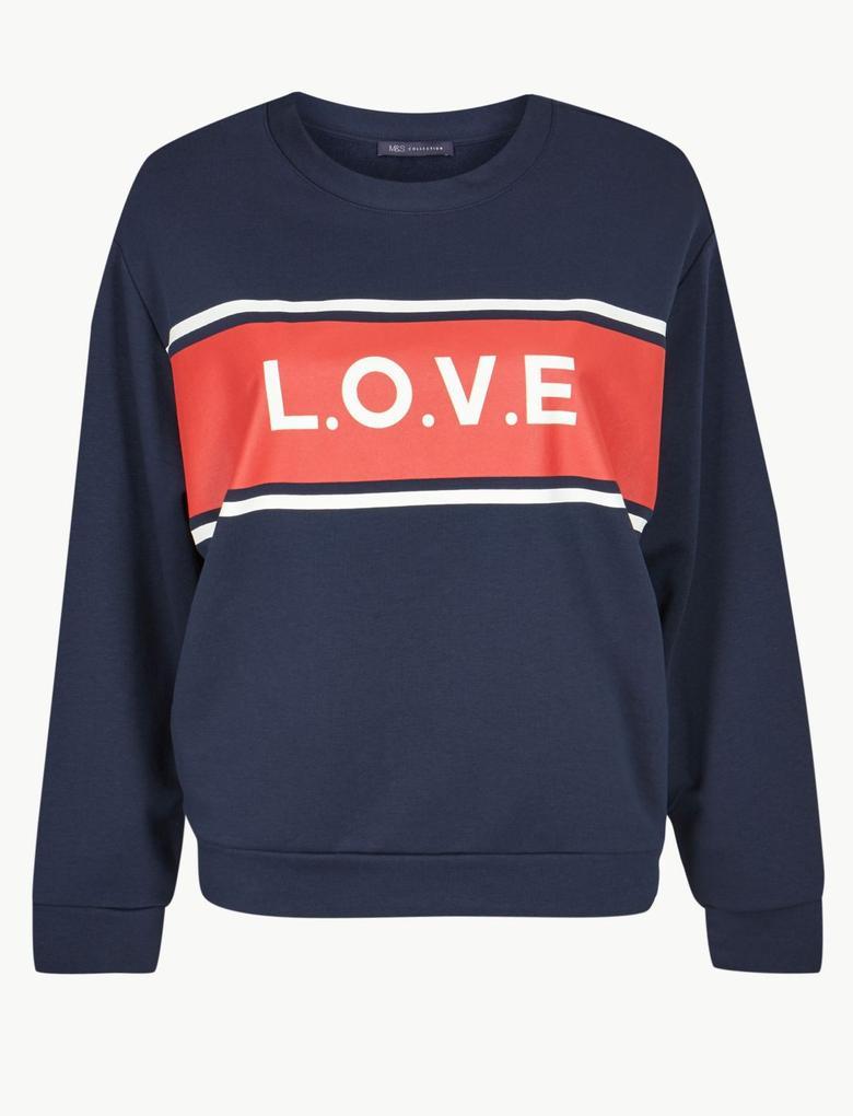 Uzun Kollu Love Desenli Sweatshirt
