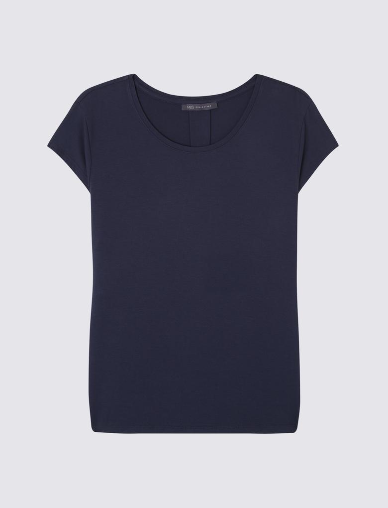 Kadın Lacivert Kısa Kollu Jarse T-Shirt