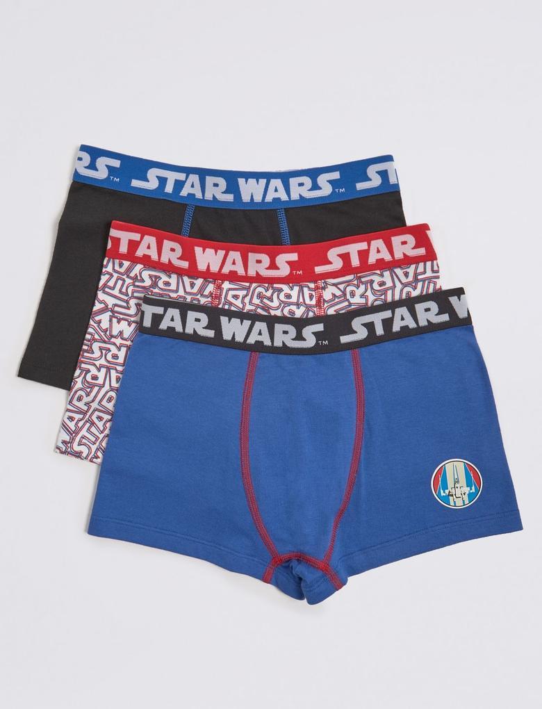 Multi Renk 3'lü Star Wars Desenli Boxer Seti