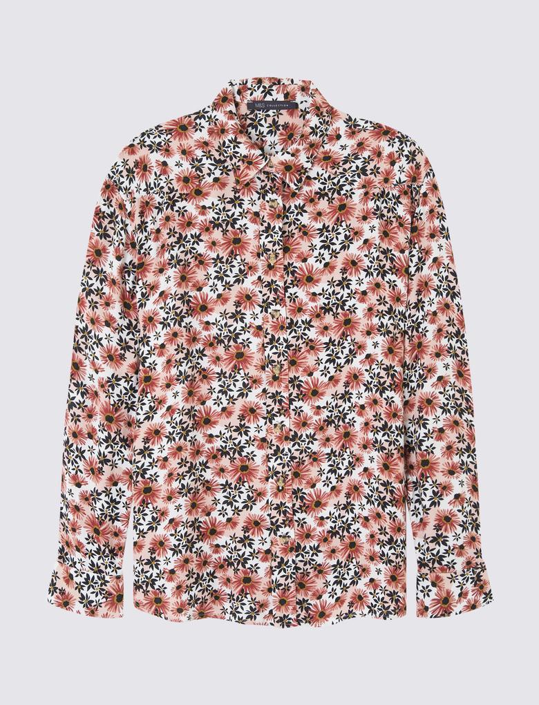 Pembe Çiçek Desenli Uzun Kollu Gömlek