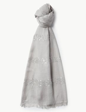 Kadın Metalik Pullu Şal