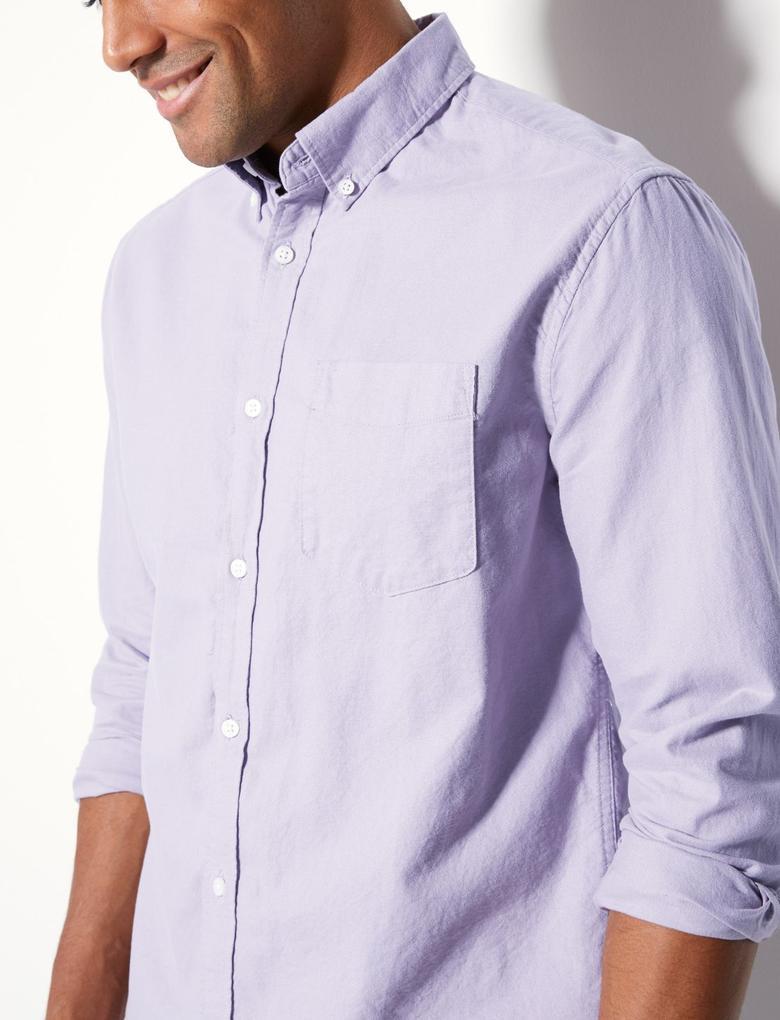 Saf Pamuklu Cepli Oxford Gömlek