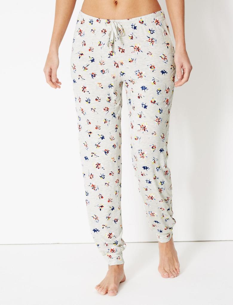 Bej Çiçek Desenli Pijama Altı