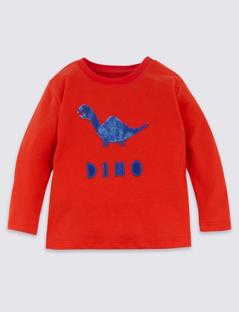 2 Parça Organik Pamuklu Dinozor Desenli T-Shirt ve Eşofman Altı Takımı