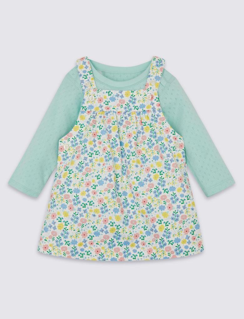 Multi Renk 2 Parça Organik Pamuklu Salopet Elbise ve Body Takımı