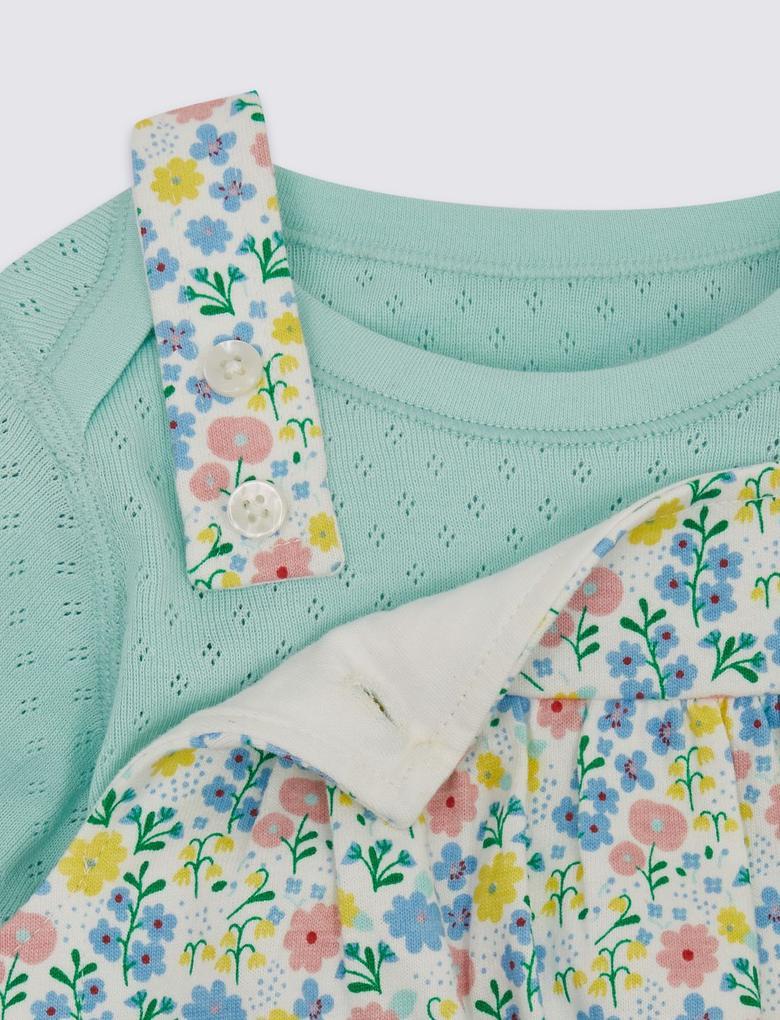 2 Parça Organik Pamuklu Salopet Elbise ve Body Takımı
