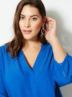 Kadın Mavi CURVE V Yaka 3/4 Kollu Bluz