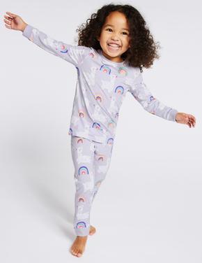 Lama Desenli Pamuklu Streç Pijama Takımı