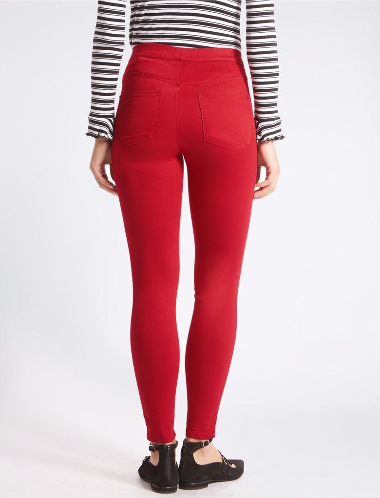 Kırmızı Pamuklu Jegging Tayt Pantolon