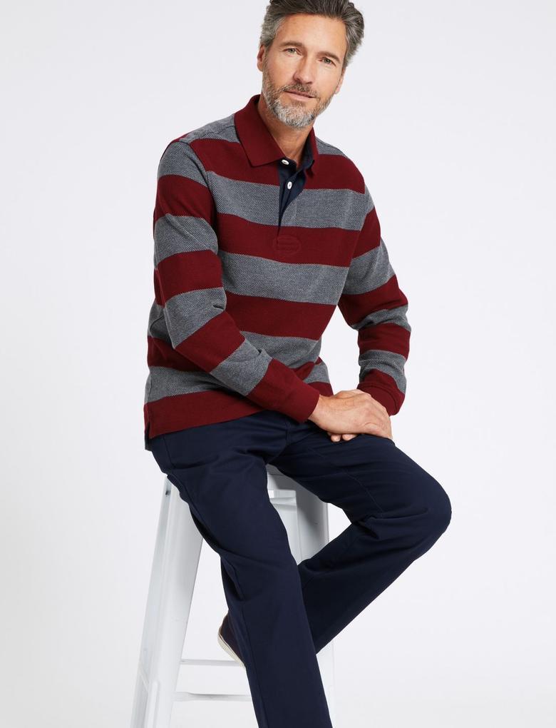 Erkek Mor Saf Pamuklu Çizgili Polo Yaka T-Shirt