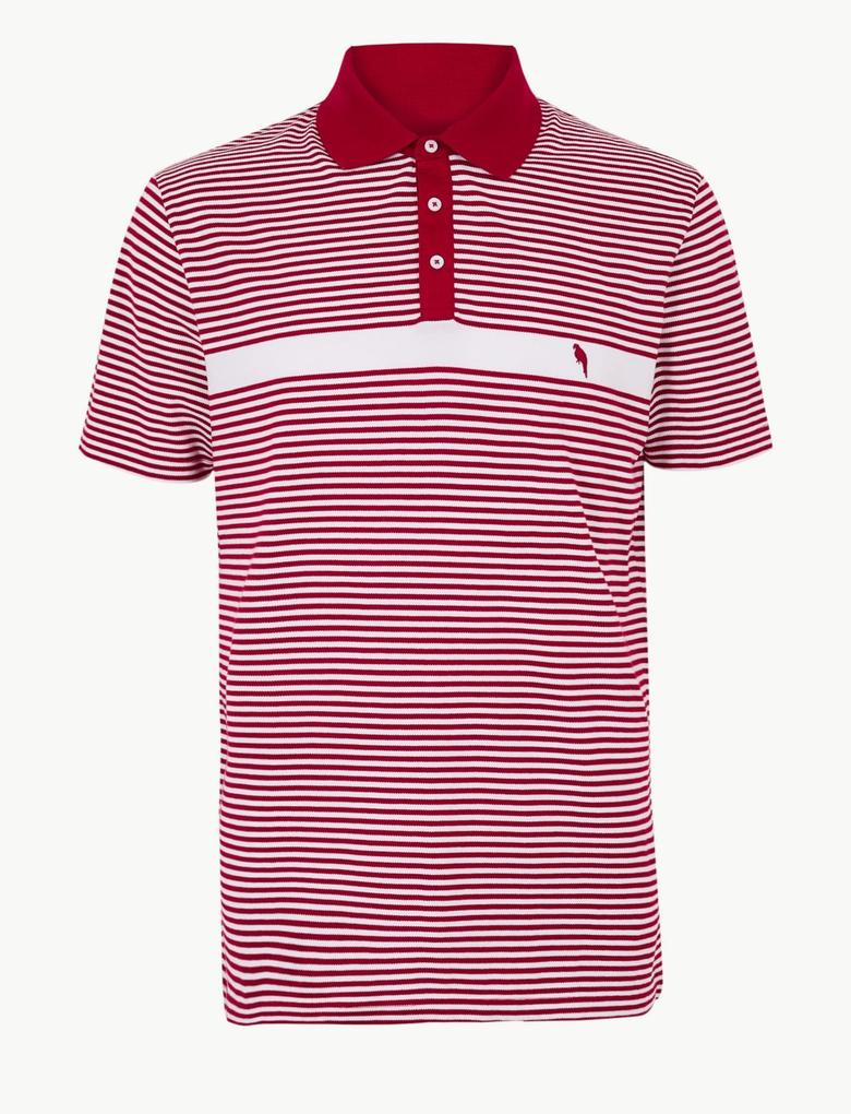 Erkek Kırmızı Slim Fit Saf Pamuklu Çizgili Polo Yaka T-Shirt