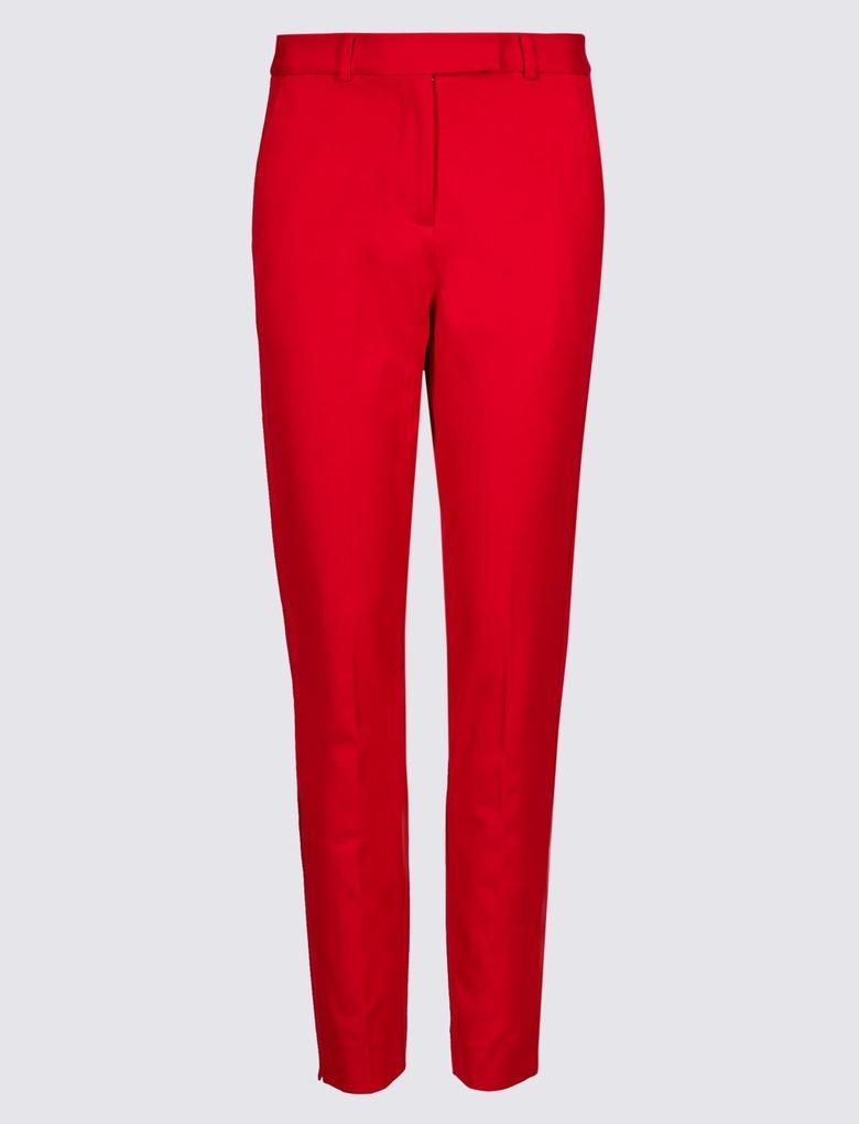 Kadın Kırmızı Pamuklu Streç Pantolon