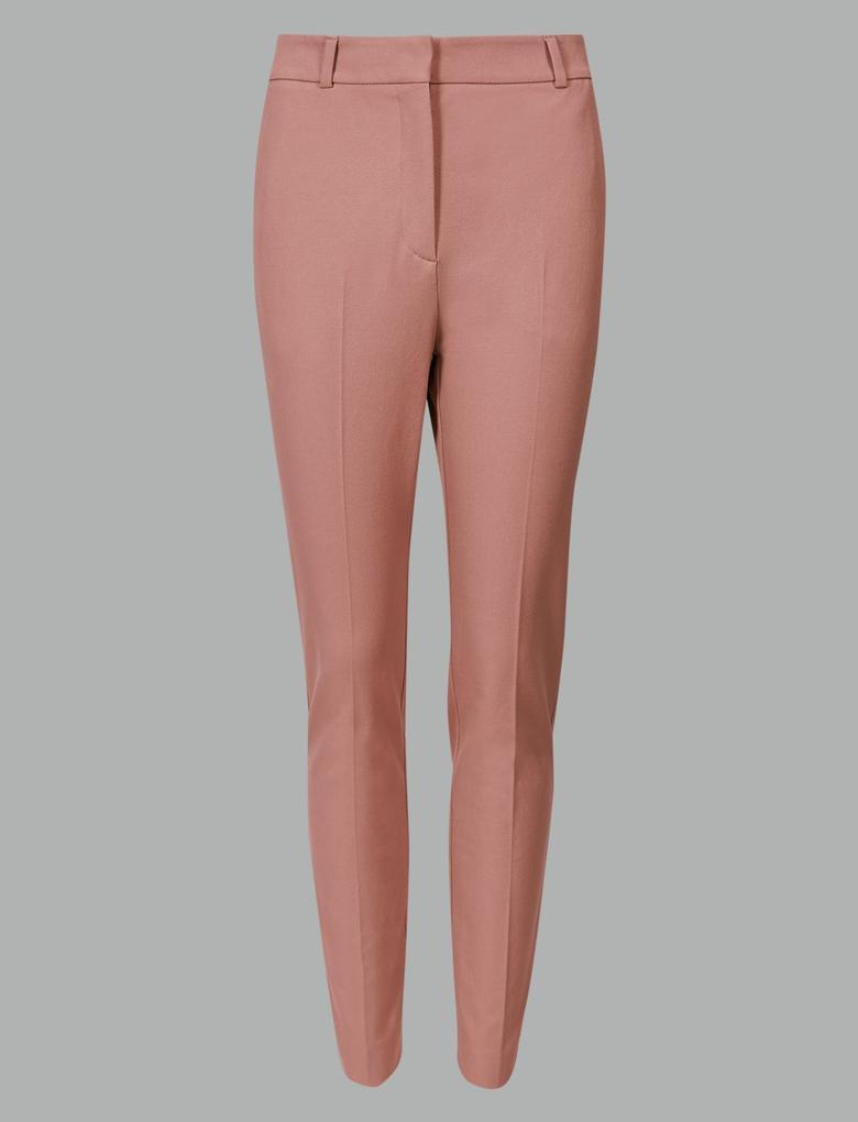 Pembe Pamuklu Slim Leg Pantolon