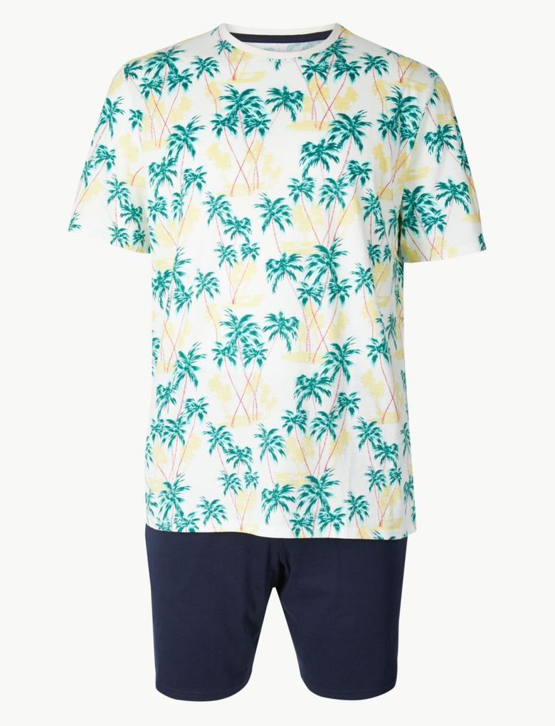Saf Pamuklu Palmiye Desenli Pijama Takımı