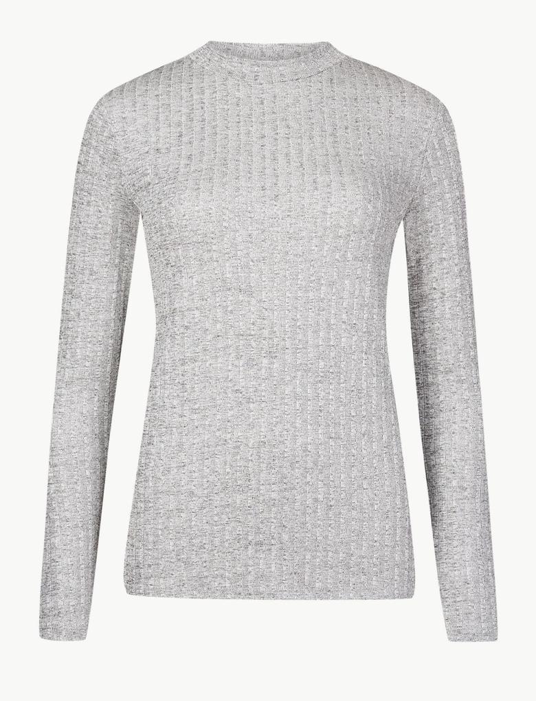 Kadın Metalik Yuvarlak Yaka Uzun Kollu Bluz
