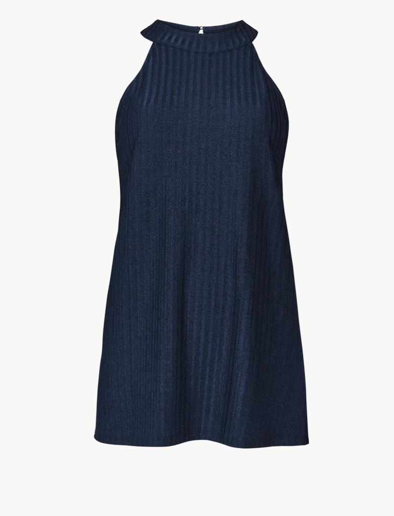 Kadın Lacivert Kolsuz Bluz